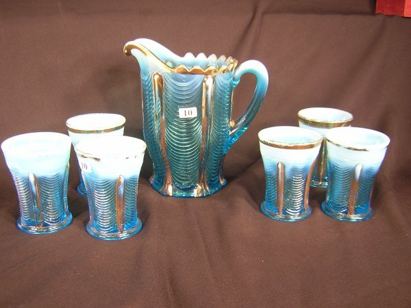 10: Victorian Opalescent 7pc Water set, blue Northwood