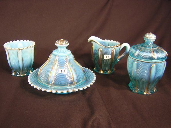 13: Victorian Opalescent 4pc Breakfast Set -- blue Nort