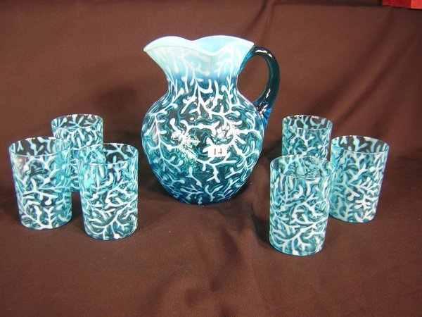14: Victorian Opalescent 7pc Water Set - blue seaweed p