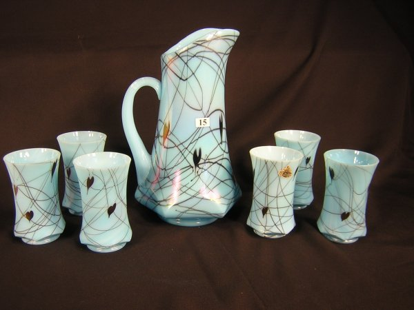 15: Fenton Barber Era 7pc Water Set -- Turquoise hangin