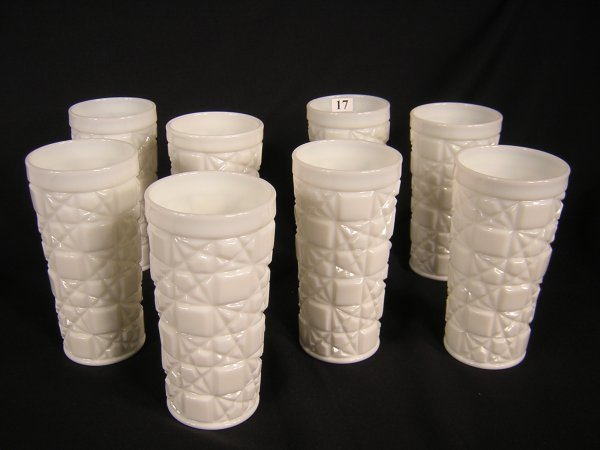 17: set of 8 Fenton Milk Glass Tumblers -- Block & Star
