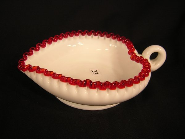 23: Fenton Flame crest Heart Shaped handled Nappy -- 8""