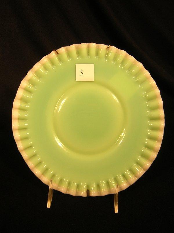 "3A: Fenton 8 3/4""w  Jade Plate w/ snow crest"