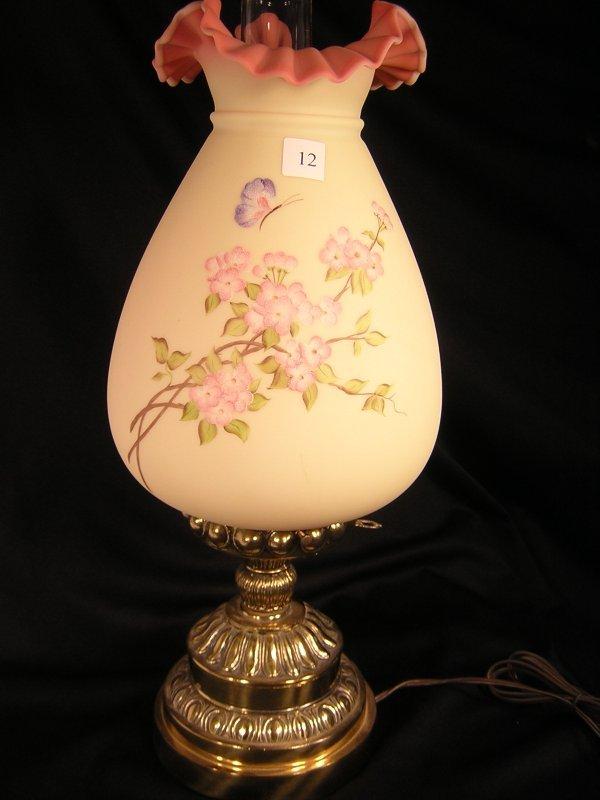 12A: Fenton Burmese hand painted Mariner's Lamp  ----