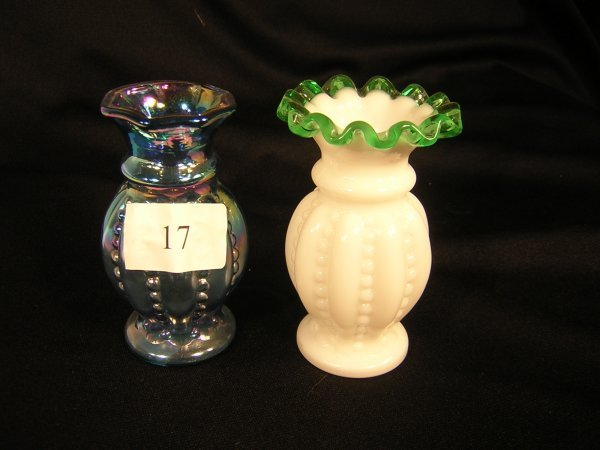 "17A: Fenton (2) Beaded Mellon Vases  ----4 1/4""h"