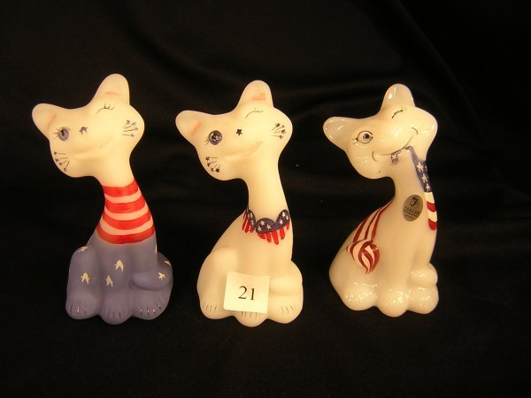 21A: Fenton (3) Decorated Happy Cats