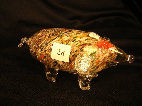 28A: Fenton Dave Fetty Off-hand Dog  w/ green frit