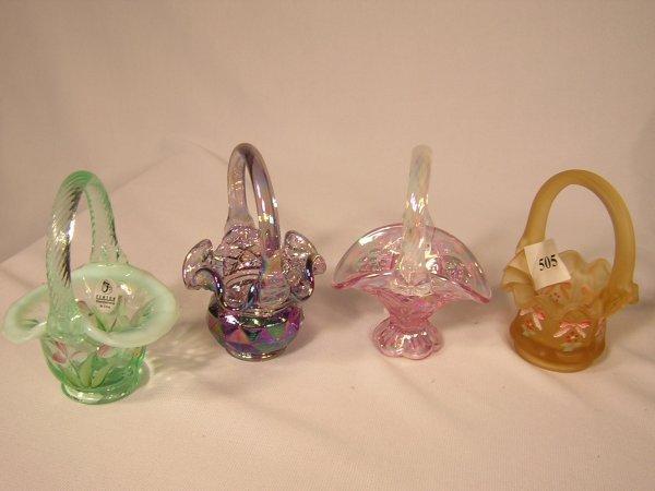 505: (4) Fenton Mini Baskets  --- 2  hand painted