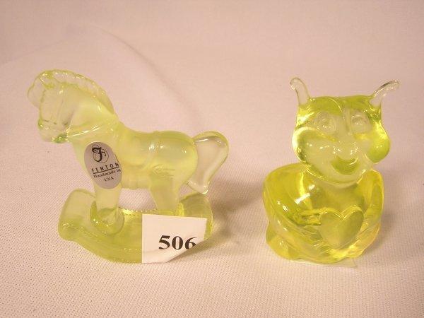 506: (2) Fenton Topaz Animals  --- 1 Love Bug, 1 Rockin