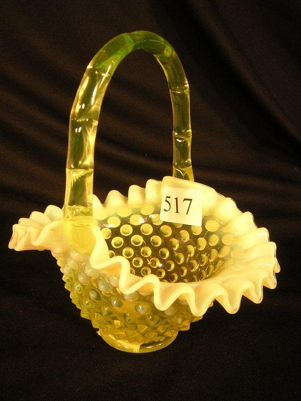 "517: Fenton Topaz Opalescent Hobnail Basket  ---- 7""h"