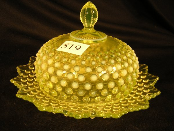 519: Fenton Topaz Opalescent Hobnail Covered Butter ---