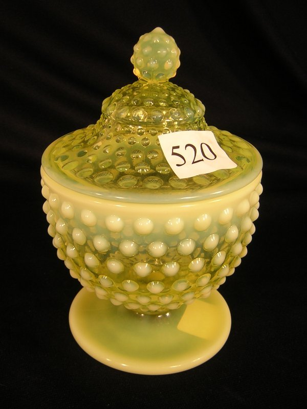520: Fenton Topaz Opalescent Hobnail Covered Candy  ---