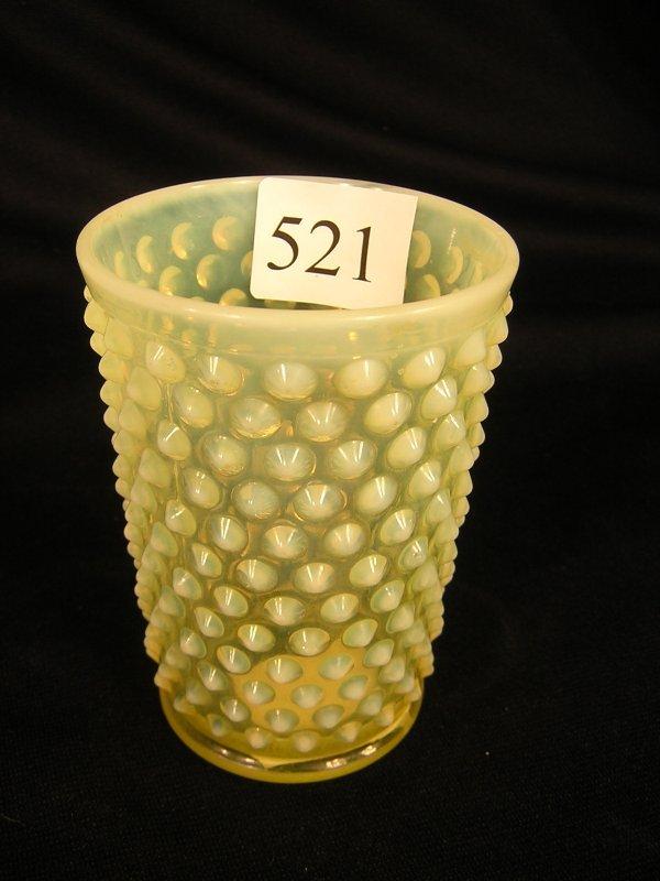 "521: Fenton Topaz Opalescent Hobnail Tumbler  ---- 4""h"