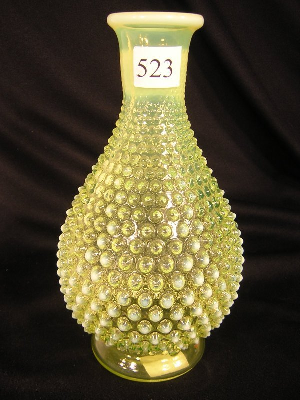523: Fenton Topaz Opalescent Hobnail Decanter Lamp Base
