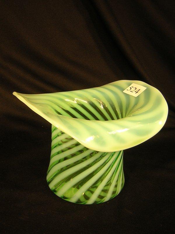 "524: Fenton Green Spiral Optic Top Hat  ---- 8 1/2""w"