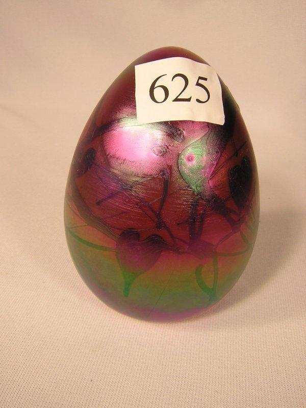 625: Fenton Ruby Barber Era large Egg w/ black hanging