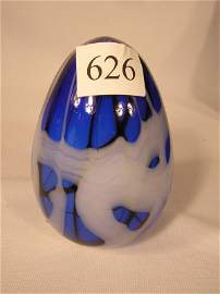 626: Fenton Barber Era large off-hand Blue, Black, Whit