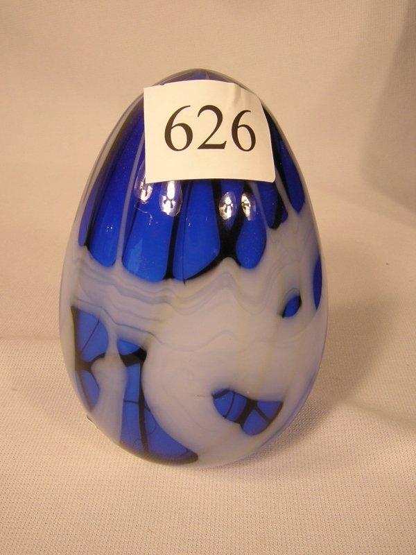 626: Fenton Barber Era large off-hand Blue, Black, Whit