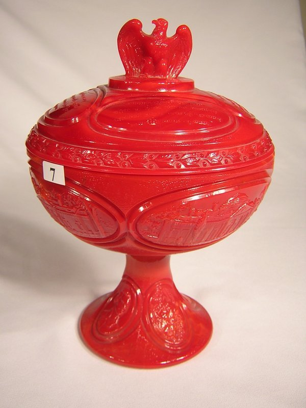 """7: Patriot Red 8476 PR Jefferson covered comport, 11"""" t"""