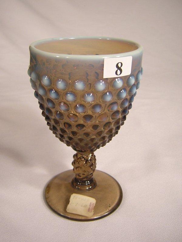 "8: Sample: Smoke Opalescent Hobnail goblet, 5.5"" tall."
