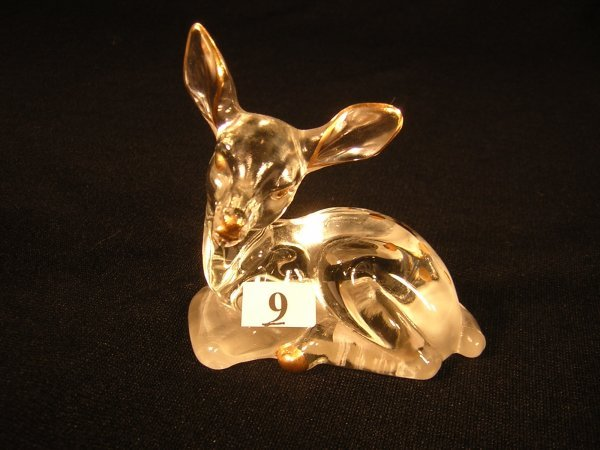 """9: Sample: Crystal Fawn figurine, 3.75"""" long, with hand"""