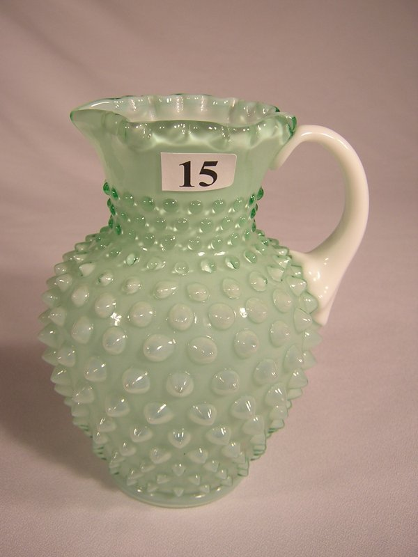 15: Sample: Light Apple Green overlay Hobnail pitcher 5