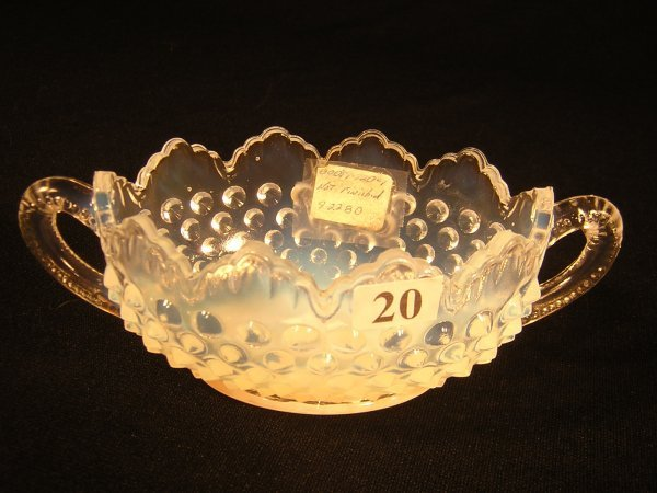 20: Sample: French Opalescent 3633 Hobnail oval two-han