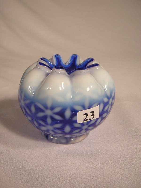 """23: Cobalt Blue Opalescent rose bowl (3.5"""" tall) with C"""