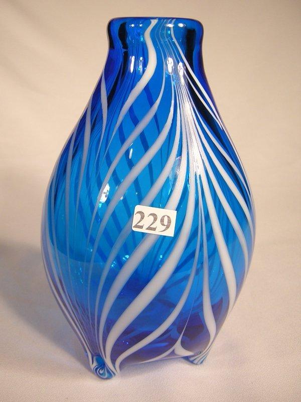 "229: Robert Barber sample: transparent blue 8.5"" tall v"