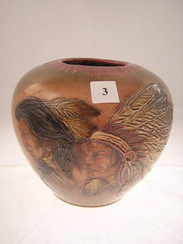 "3A: Rick Wisecarver Vase w/ 2 Indians  ( 7 1/2""t --- 9"""