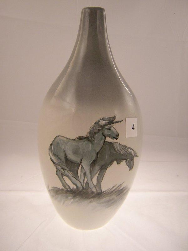 4A: Rick Wisecarver Bottle Shaped Vase w/ pr. Hand pain