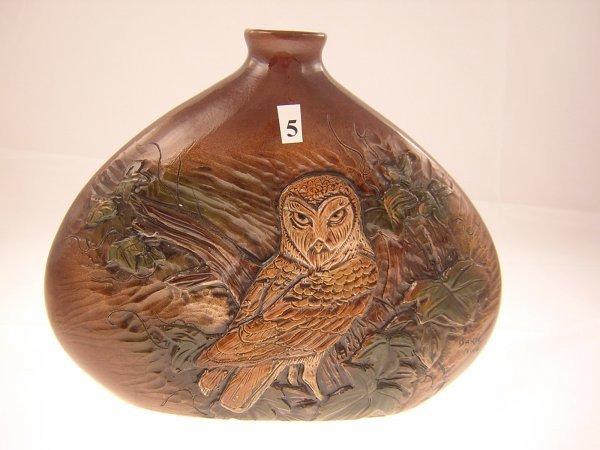 5A: Rick Wisecarver Bottle Shaped Vase w/ Carved Barn O