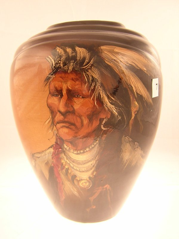 """7A: Rick Wisecarver Vase hand painted Indian  ( 12 1/2"""""""