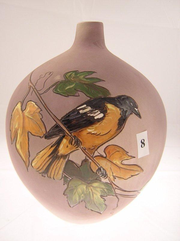 8A: Rick Wiscarver Bottle Shaped Vase  w/ Bird on Branc