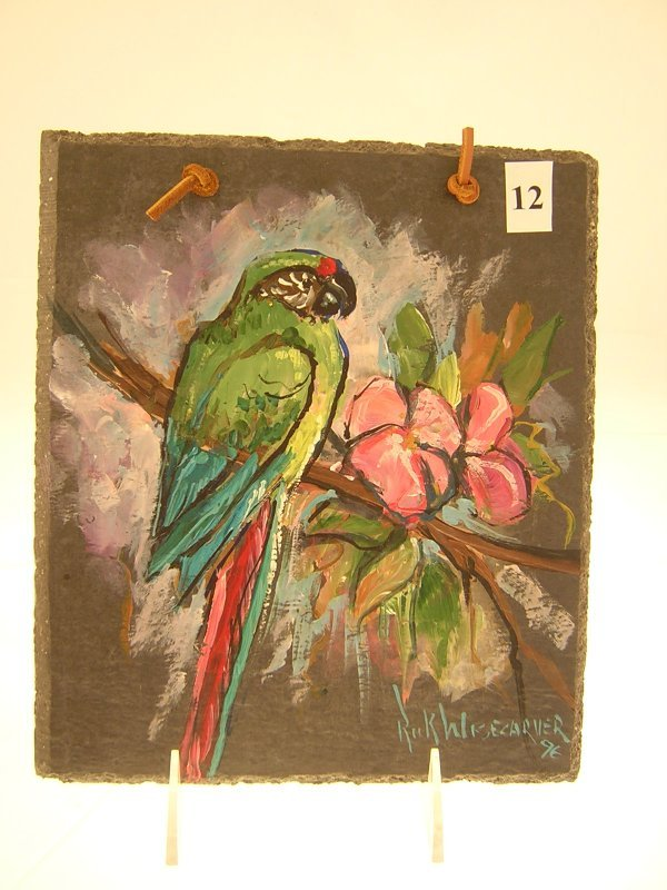 12A: Rick Wisecarver hand painted Slate w/ parrot  ( 9