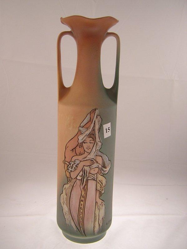 15A: Rick Wisecarver 2 handled Vase carved Man & Woman