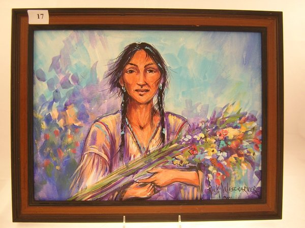 17A: Rick Wisecarver Painting - Indian Girl  w/ flowers