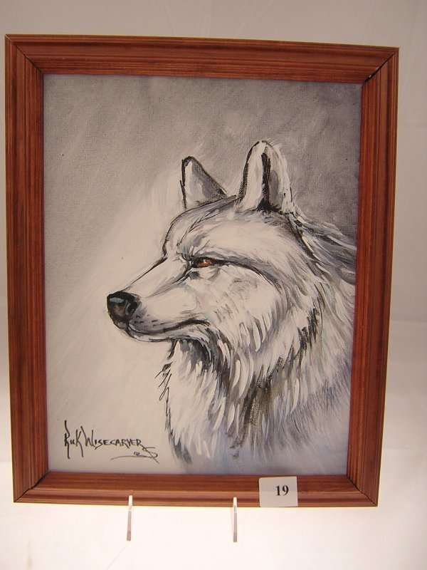 """19A: Rick Wisecarver Painting """" White Wolf """"  ( image s"""