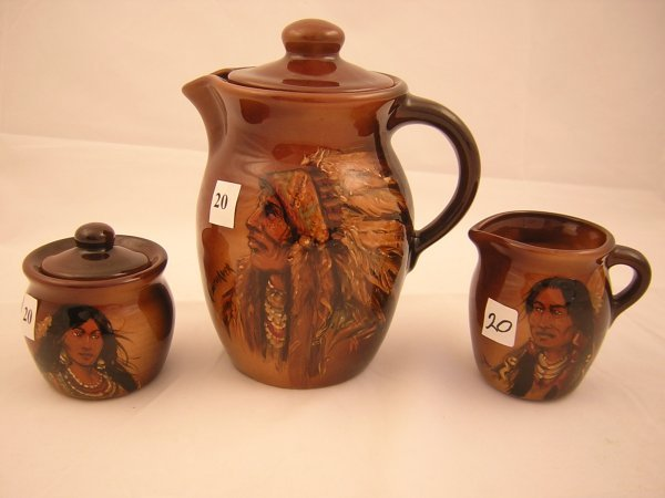 20A: Rick Wisecarver 3 pc. Hand painted Coffee Set ---(
