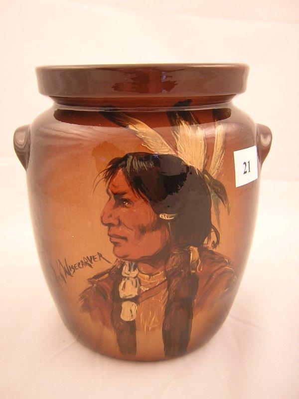 21A: Rick Wisecarver hand painted lug handled Pot  w/ I