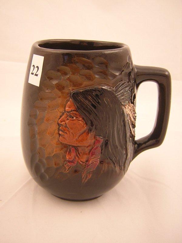 "22A: Rick Wisecarver Mug  w/ Scul Indian  ( 6""h -- 6""w"
