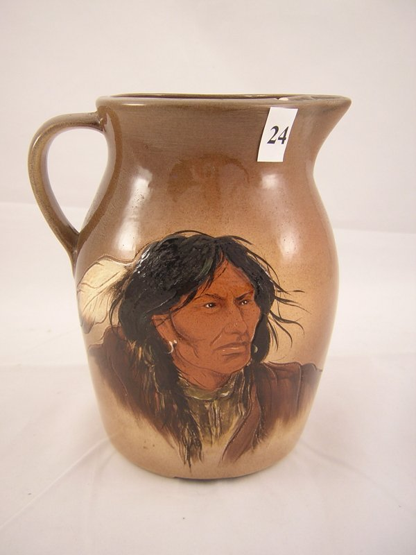 24A: Rick Wisecarver hand painted Pitcher  w/ Indian  (