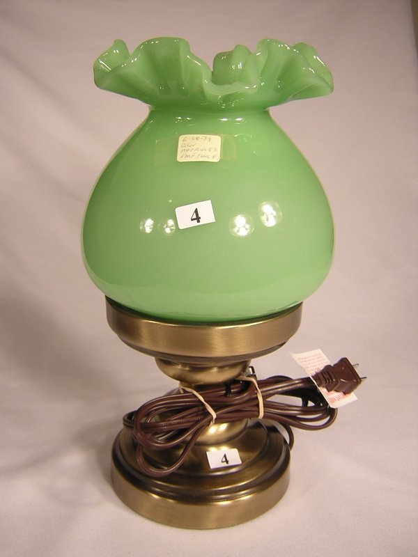 4: Sample: Jade Green double crimped lampshade on conte