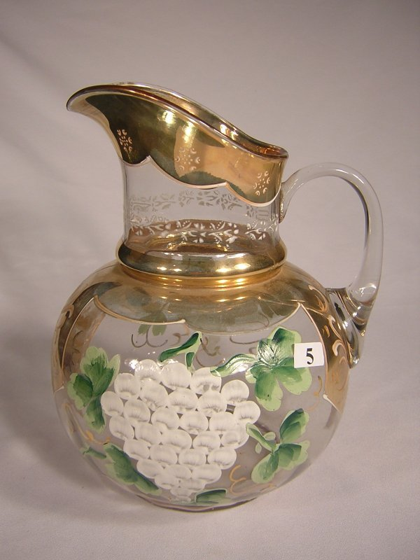 "5: Early decorated pitcher: No. 821 ""cannonball"" 10"" ta"