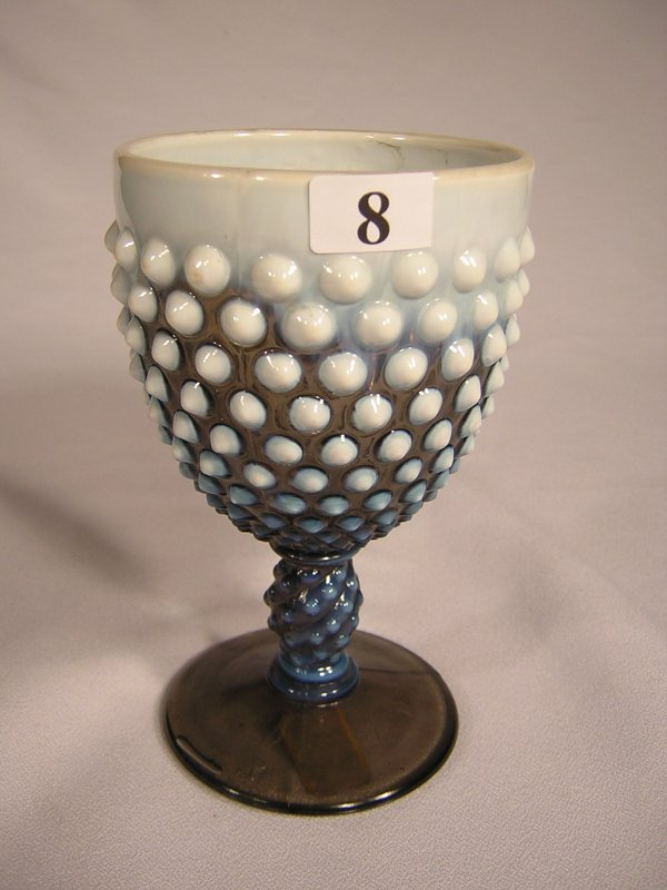 "8: Sample: Smoke Opalescent Hobnail goblet, 5.5"" tall."