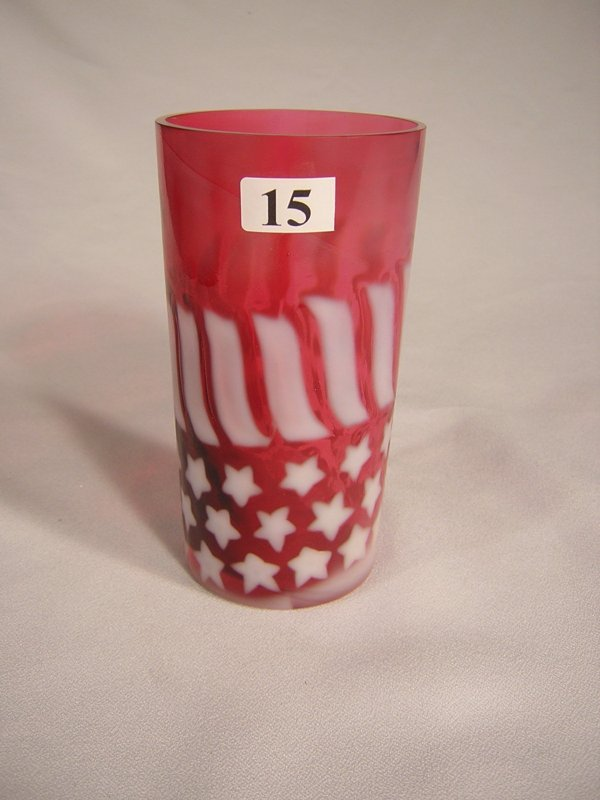 "15: Cranberry Opalescent Stars and Stripes 5.25"" tall t"