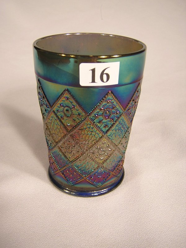 "16: Blue Carnival glass ""Fentonia"" pattern 4"" tall tumb"