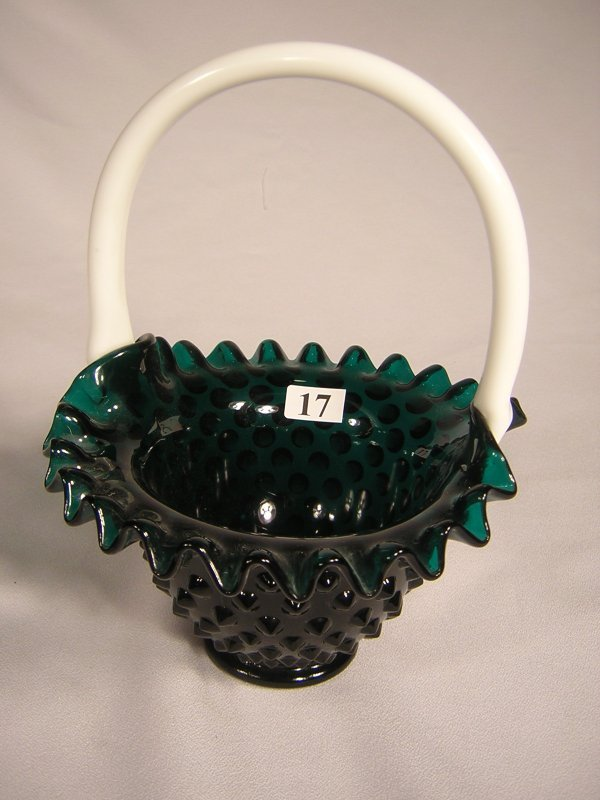 "17: Sample: Stiegel Green Hobnail 8"" tall basket with"