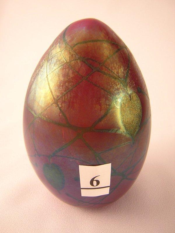 6: Robert Barber sample egg: This iridized dark ruby eg