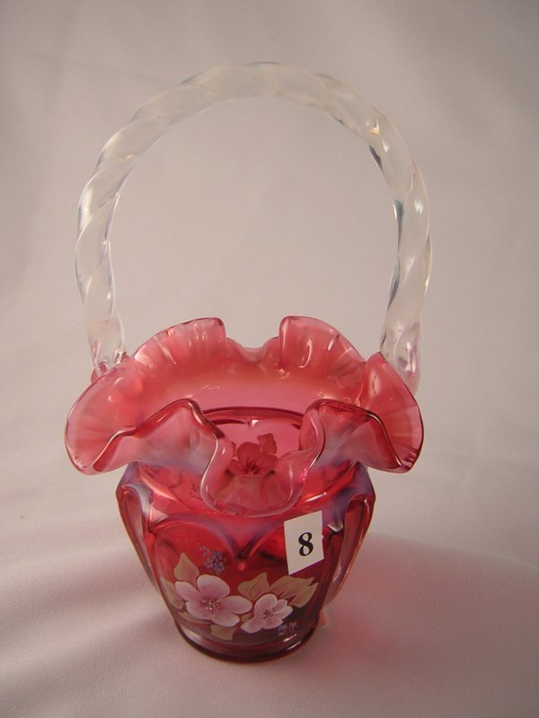 8: Cranberry opalescent Open Heart Arches basket with h